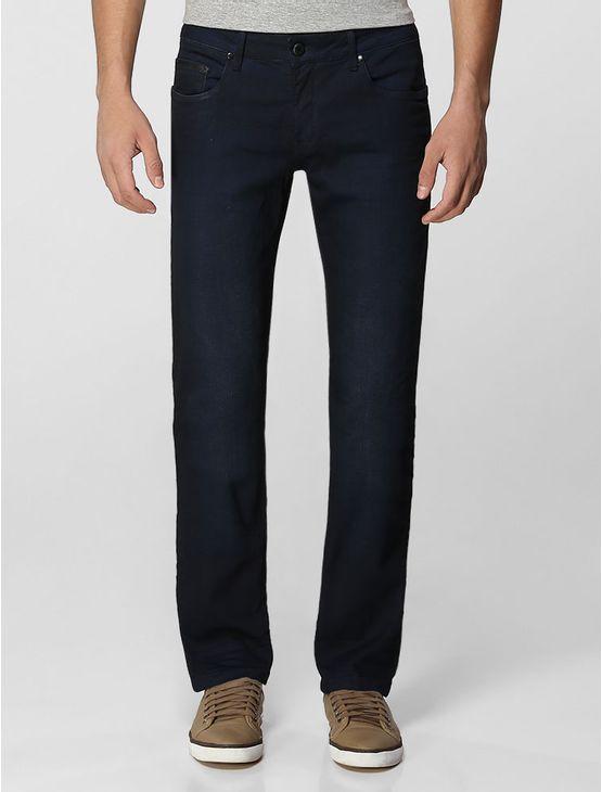 Calça jeans Clavin Klein Jeans masculina skinny, cintura baixa, perna justa, five pockets, bolso traseiro com bordado personalizado, lavagem de leve efeito 3D na cor denim blue black.