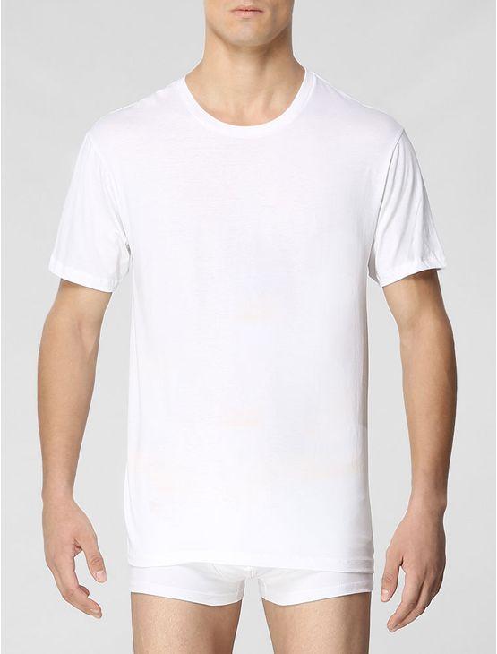 Kit com 3 camisetas Calvin Klein Underwear masculina na cor branca, de manga curta, gola careca e modelagem reta no corpo.