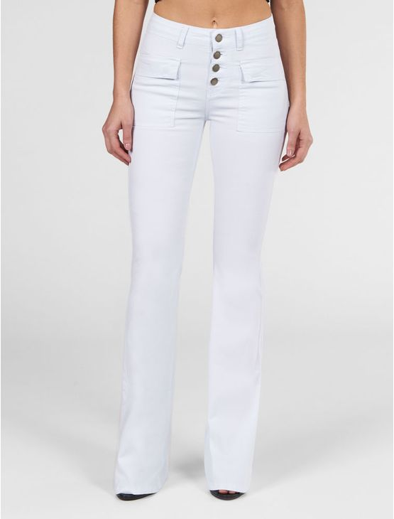 CALCA-COLOR-CALVIN-KLEIN-JEANS-FLARE-HIGH-VISTA-COM-BOTOES-BRANCO