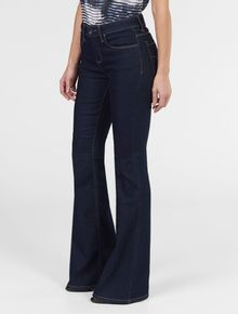 CALCA-CALVIN-KLEIN-JEANS-FIVE-POCKETS-FLARE-HIGH-AZUL-ESCURO