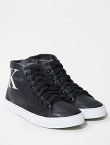 TENIS-CALVIN-KLEIN-JEANS-CANO-ALTO-RE-ISSUE-LOGO-LEATHER-PRETO