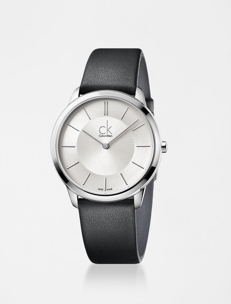6b3b782a874 Relógio Calvin Klein Prata Com Pulseira De Couro Preta - Calvin Klein