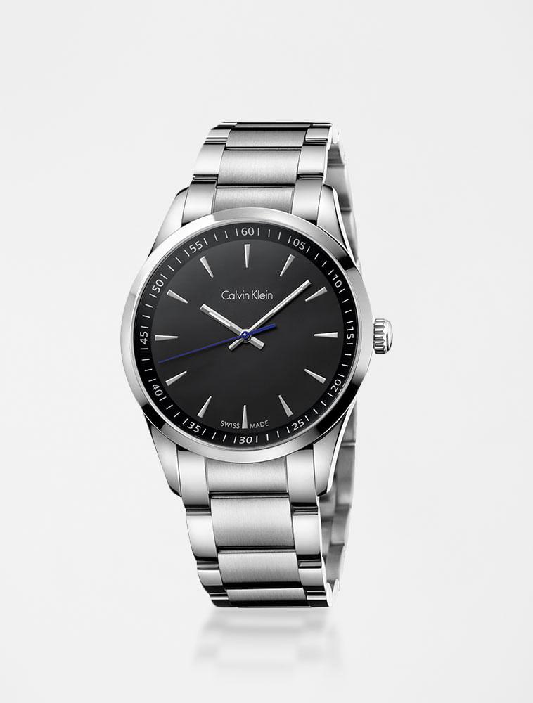 d593d4ec3f97c Relógio Calvin Klein Preto Com Pulseira De Aço - Calvin Klein