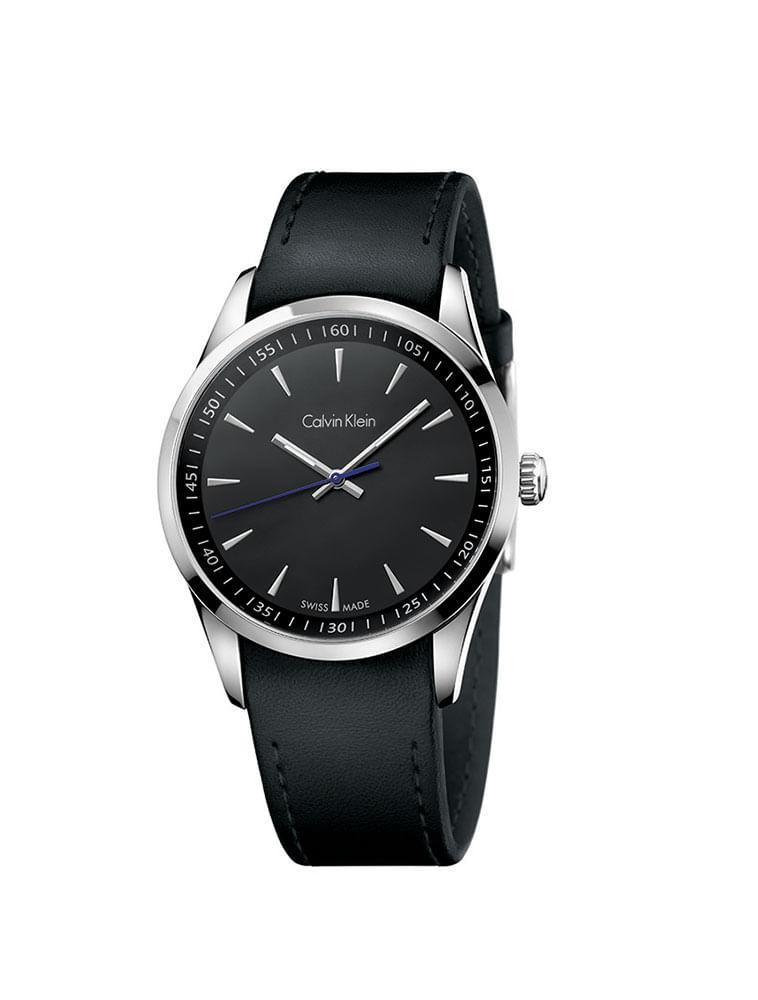 Relógio Calvin Klein Preto Com Pulseira De Couro Preta - Calvin Klein 5ede3261e1