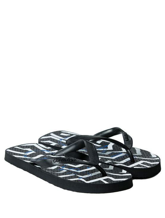 CHINELO-CALVIN-KLEIN-SWIMWEAR-GEOMETRIC-STRIP-PRETO