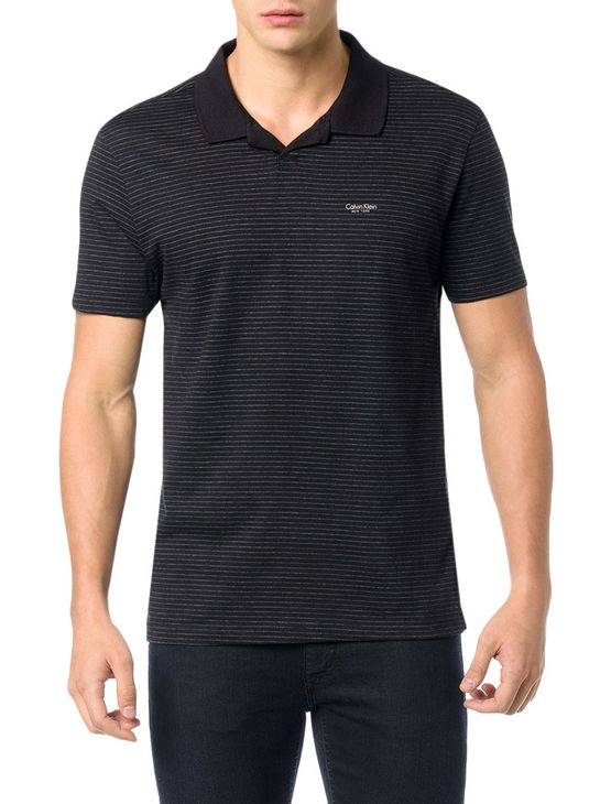 POLO-CALVIN-KLEIN-REGULAR-LISTRADA-COM-MINI-VISTA-PRETO