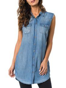 Camisa-CKJ-Jeans-Alongada-Sem-Manga-Azul-Claro