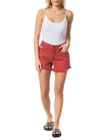 SHORTS-COLOR-CALVIN-KLEIN-JEANS-FIVE-POCKETS-VERMELHO