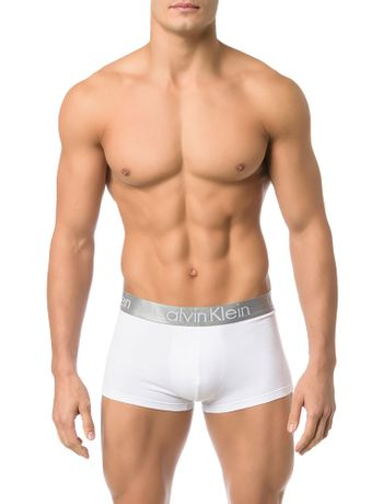 CUECA-LOW-RISE-TRUNK-CALVIN-KLEIN-UNDERWEAR-DE-COTTON-BRANCO-COM-PRATA