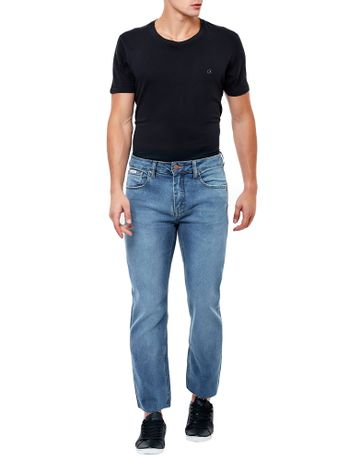 CALCA-CALVIN-KLEIN-JEANS-FIVE-POCKETS-STRAIGHT-LIXADO-AZUL-MEDIO