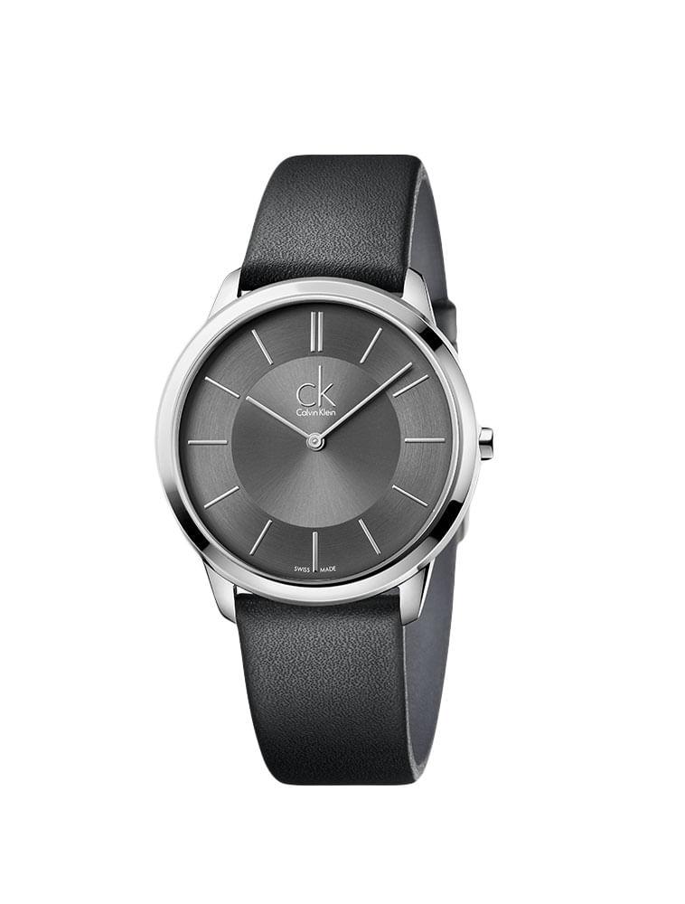 47f22c352b2 Relógio Calvin Klein Cinza Com Pulseira De Couro Preta - Calvin Klein