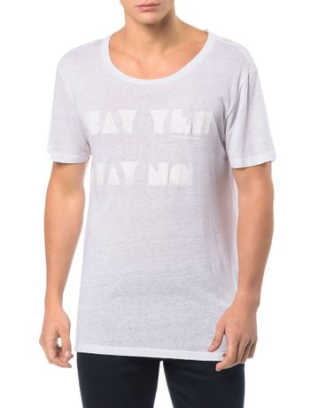 CAMISETA-CALVIN-KLEIN-JEANS-ESTAMPA-SAY-YES-SAY-NO-BRANCO