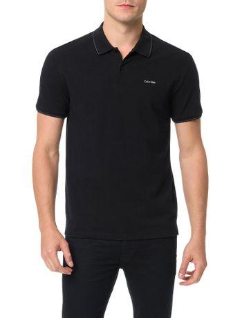 Polo-Slim-Basica-Calvin-Klein-Logo-No-Peito-Preto