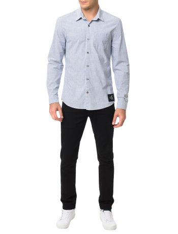 Camisa-Calvin-Klein-Jeans-Classico-Duplo-Indigo-Azul-Claro