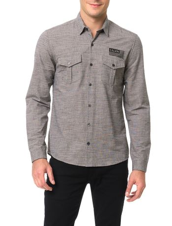 Camisa-Calvin-Klein-Jeans-Flame-Militar-Caqui-Claro