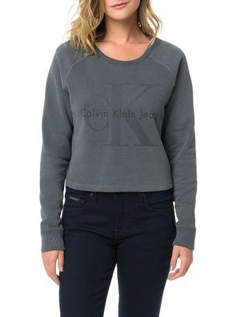 Blusa-Calvin-Klein-Jeans-Com-Estampa-Frontal-Chumbo