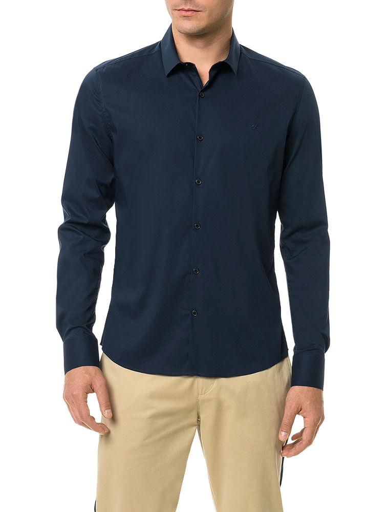 Camisa Slim Calvin Klein Cannes Toque Suave Marinho - Calvin Klein 11578d841bf71