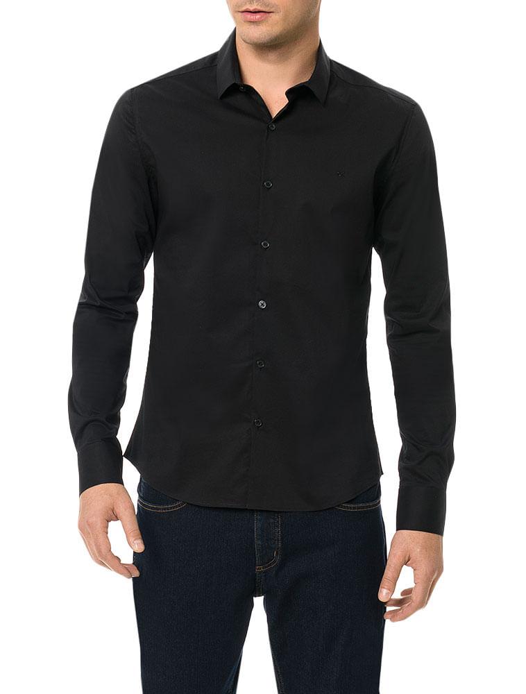 aee10a9c1775a Camisa Slim Calvin Klein Cannes Toque Suave Preto - Calvin Klein