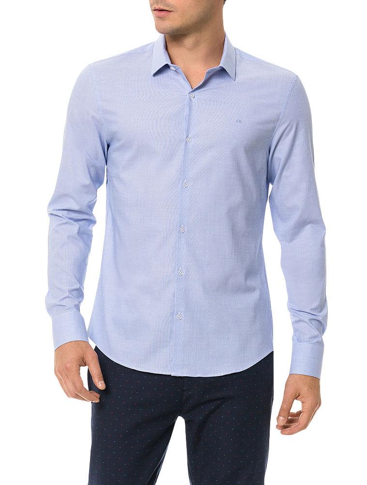cae61232c4002 Camisa Slim Calvin Klein Cannes Fil a Fil Azul Bebê - Calvin Klein