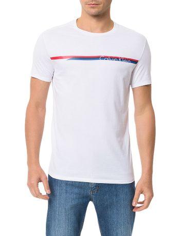 Camiseta-Slim-Calvin-Klein-Estampada-Stripe-Logo-Branco
