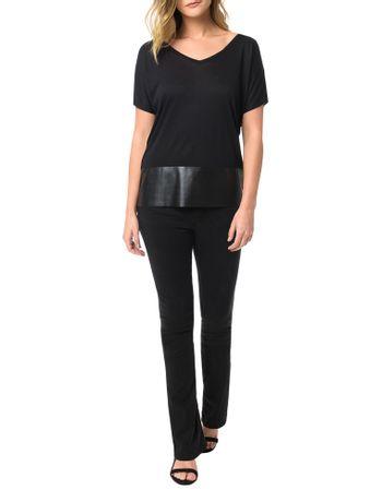 Blusa-Calvin-Klein-Jeans-Com-Recortes-Em-Pu-Preto