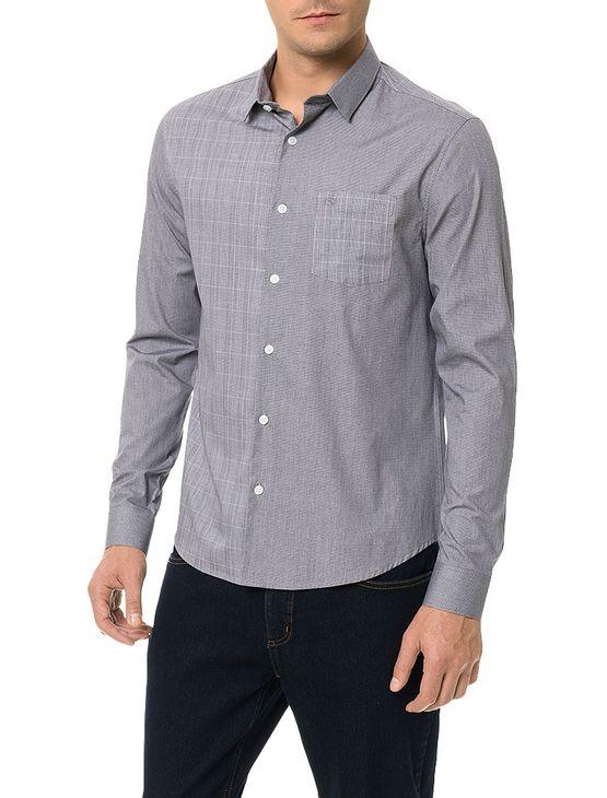 b788a7b0f5bd6 Camisa-Slim-Calvin-Klein-Cannes-Bolso-Contraste-Tecido-Preto. Loading zoom