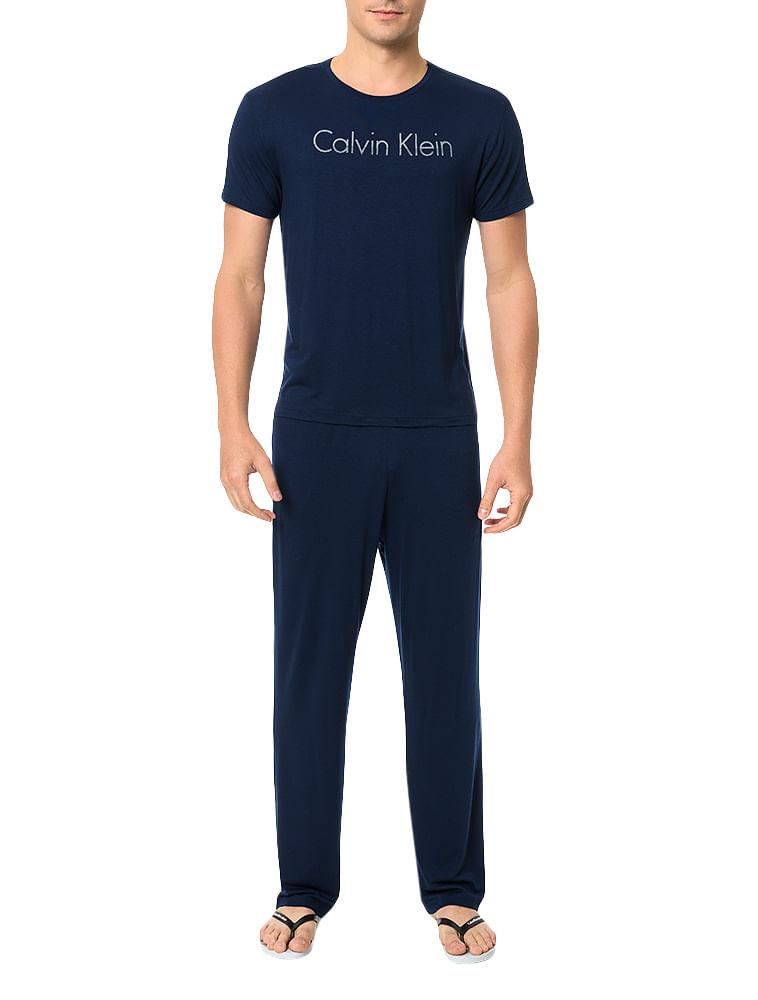 6147ee03a Pijama Calvin Klein Underwear Camiseta e Calça De Visco Marinho ...
