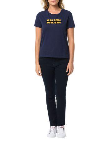 Blusa-Calvin-Klein-Jeans-Com-Estampa-Frontal-Faixa-Floco-Marinho