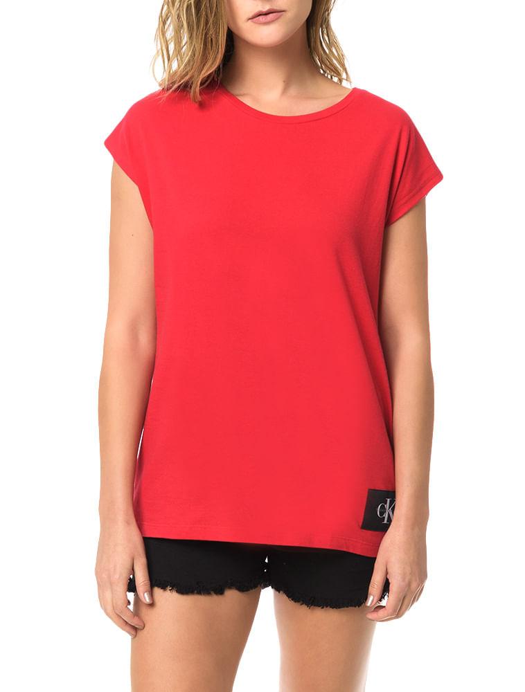 7883a3c37607d Blusa Calvin Klein Jeans Com Etiqueta Na Barra Vermelho - Calvin Klein