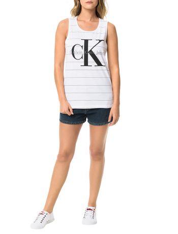 Blusa-Calvin-Klein-Jeans-Malha-Listrada-Estampa-Frontal-Branco