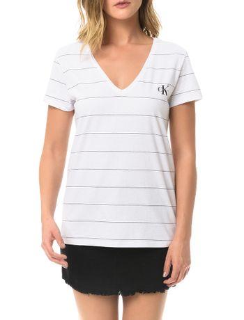 Blusa-Branca-Calvin-Klein-Jeans-Malha-Listrada-Estampa-Frontal
