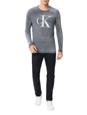 Camiseta-Calvin-Klein-Jeans-Logo-CK-Cinza-Grafite
