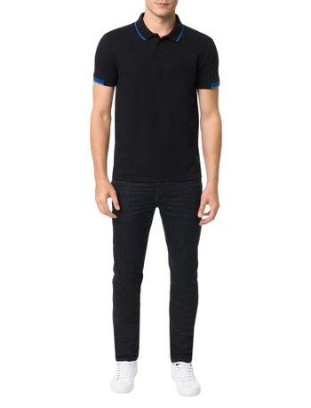 Polo-Calvin-Klein-Jeans-Recortes-Mangas-Preto