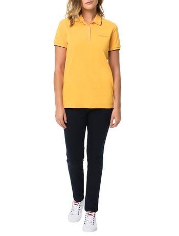 Polo-Piquet-Calvin-Klein-Jeans-Com-Logo-e-Friso-Mangas-Amarelo-Ouro