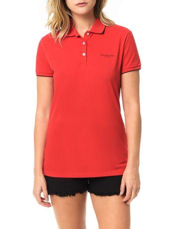 Polo-Piquet-Calvin-Klein-Jeans-Com-Logo-e-Friso-Mangas-Vermelho