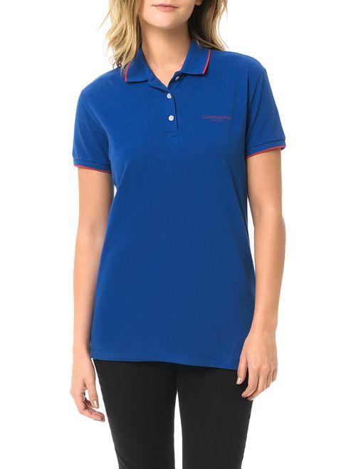 Polo Piquet Calvin Klein Jeans Com Logo E Friso Mangas Azul Carbono