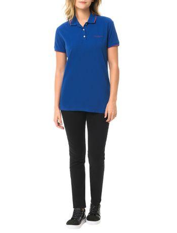Polo-Piquet-Calvin-Klein-Jeans-Com-Logo-e-Friso-Mangas-Azul-Carbono