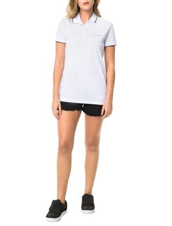 Polo-Piquet-Calvin-Klein-Jeans-Com-Logo-e-Friso-Mangas-Branco