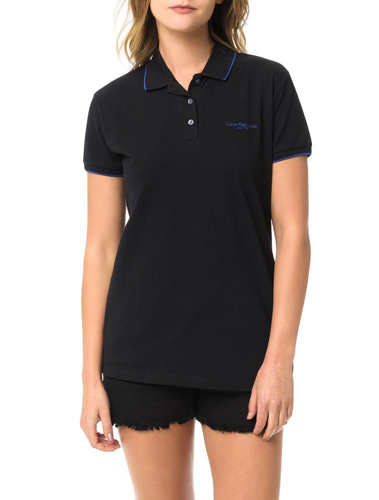 Polo-Piquet-Calvin-Klein-Jeans-Com-Logo-e-Friso-Mangas-Preto. Loading zoom c38a86c8f9