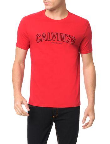 Camiseta-Calvin-Klein-Jeans-Estampa-Calvin-78-Vermelho