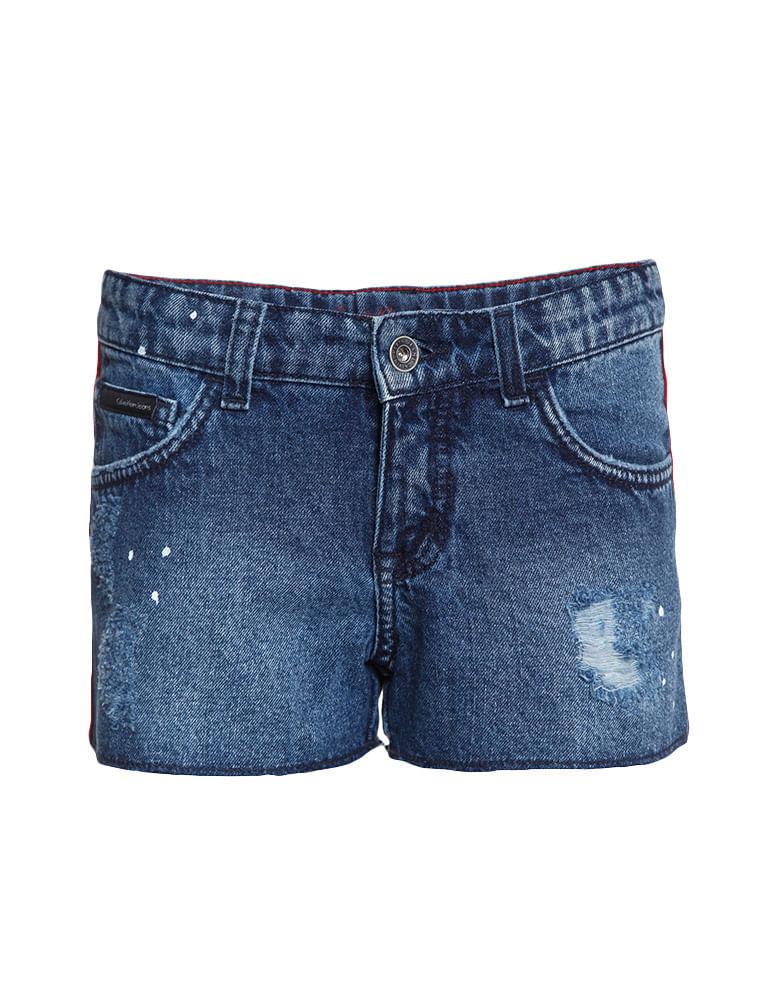 1dd51af60d Shorts Jeans Infantil Calvin Klein Jeans Five Pockets Azul Médio ...