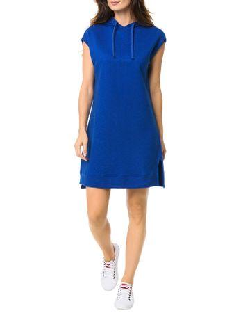 Vestido-Malha-Calvin-Klein-Jeans-Com-Capuz-1978-Frontal-Azul-Carbono