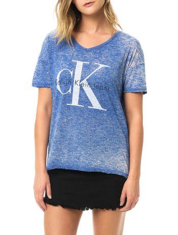 Blusa-Calvin-Klein-Jeans-Com-Logo-e-Devore-Azul-Carbono