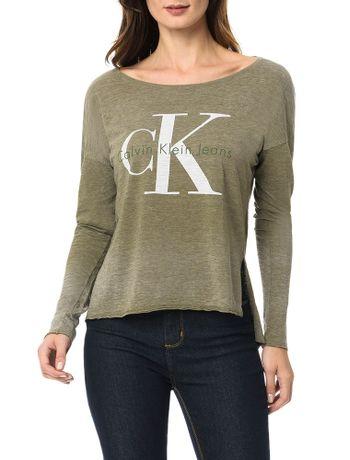 Blusa-Calvin-Klein-Jeans-Com-Logo-e-Devore-Oliva