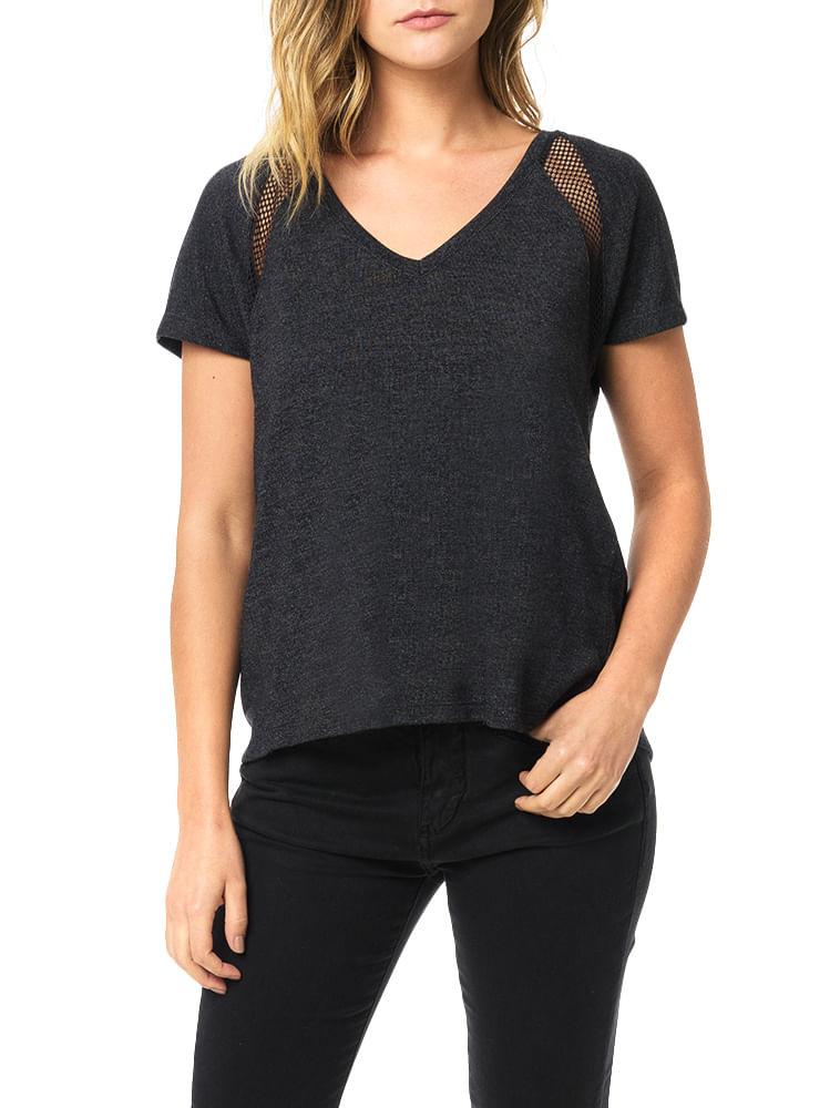 06a8f55352cd1 Blusa Calvin Klein Jeans Com Recortes Em Tela Preto - Calvin Klein