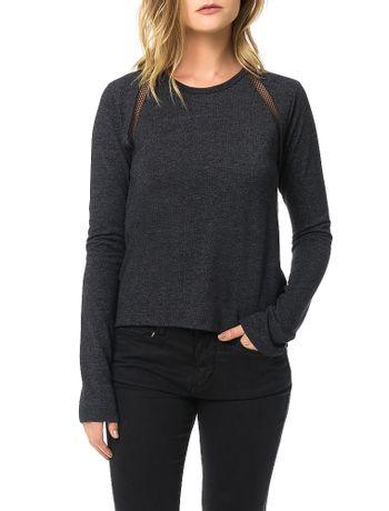 Blusa-Calvin-Klein-Jeans-Com-Recorte-Em-Tela-Preto