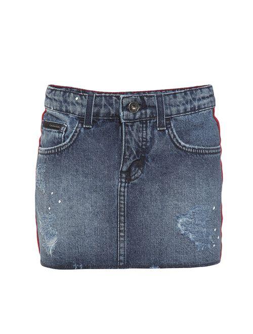 Saia Jeans Infantil Calvin Klein Jeans 5 Pockets Azul Médio
