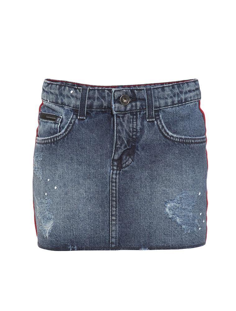 Saia Jeans Infantil Calvin Klein Jeans Five Pockets Azul Médio ... 652c13e2694