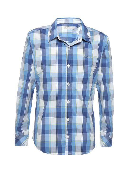 82a56578f3c07 Camisa-Infantil-Calvin-Klein-Jeans-Xadrez-Recorte-E-Logo-Azul-Marinho.  Loading zoom