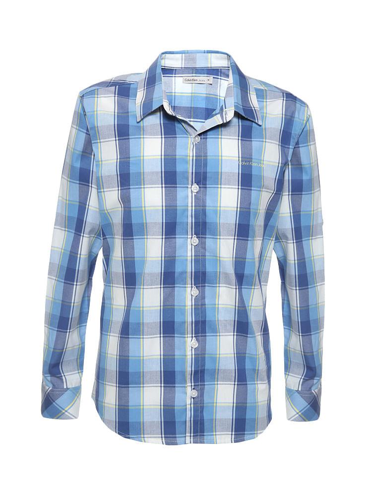 86257098cfab4 Camisa-Infantil-Calvin-Klein-Jeans-Xadrez-Recorte-E-Logo-Azul-Marinho